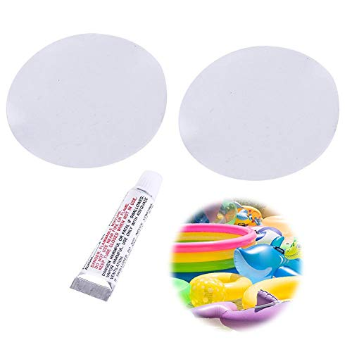 Reparatur Patches Pool Flicken Patch Kleber Kit reparieren mit 1 Kleber und 2 PVC Reparaturfolie Wasserdicht für aufblasbares Spielzeug Schwimmbäder Schwimmen