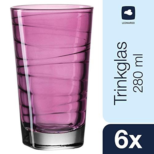 Leonardo Vario Struttura Becher groß Viola, 6-er Set, 280 ml, violettes Klarglas mit Colori-Hydroglasur, 018235