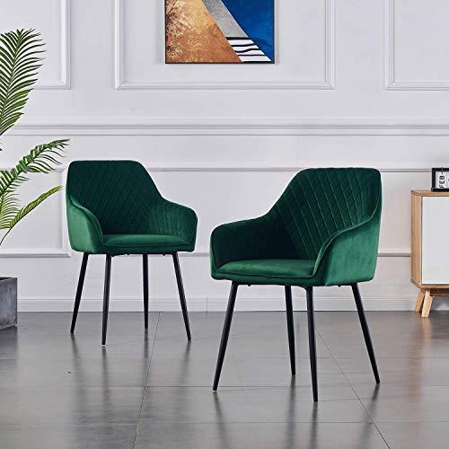 2X Wohnzimmerstuhl Esszimmerstuhl aus Stoff (Samt) Farbauswahl Retro Design Armlehnstuhl Stuhl mit Rückenlehne Sessel Metallbeine Schwarz (Green, 2)