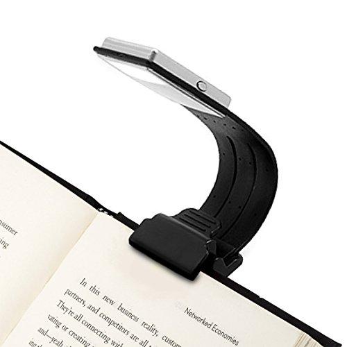 Leselampe -4 einstellbare Helligkeit zu entwerfen -Lampe mit Klammer kleineLeselicht flexibel Buch Lesen- Led Leselampe für Kindle- Akku der Leuchte wiederaufladbar über USB, Schwarz