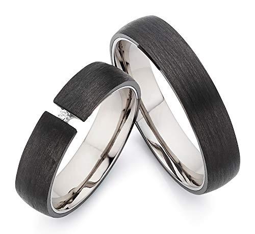 Carbon/Titan in Juwelier-Qualität mit BRILLANT zum ***AKTIONSPREIS*** von 123traumringe 2x Trauringe/Eheringe (Gravur/Ringmaßband/Etui/Zertifikat)