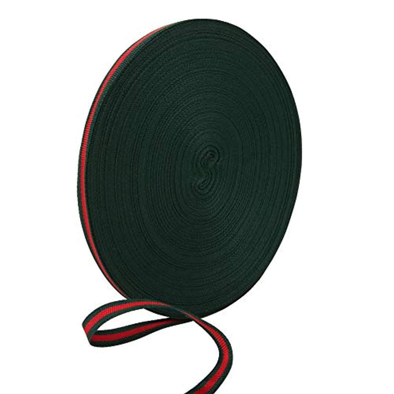 Teemico 1 Roll of 55 Yards Red Green Grosgrain Ribbon Double Face Striped Ribbon for Sewing Craft Making, 1cm Wide