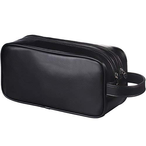 HappyDavid Soft PU Leather Zipped Travel Toiletry Bag Mens Ladies Supply  Toiletry Bag Case(black 8d7e6fb01007c