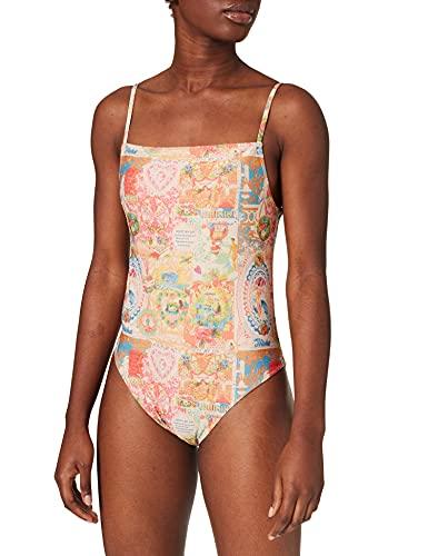 Desigual Biki_Jamaica Traje de baño de una Pieza, Blanco, L para Mujer