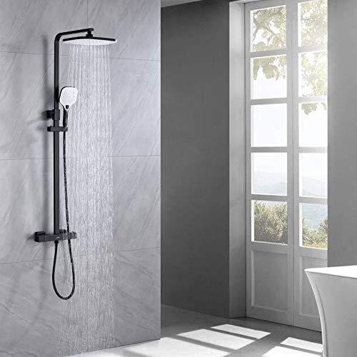 Auralum Duschset Regendusche mit Thermostat, Duscharmatur Set mit Thermostat, 25 X 20 CM Überkopfdusche und 3 Strahlarten Handbrause, Höhenverstellbar. Anti-Verbrühungs-Duschsystem