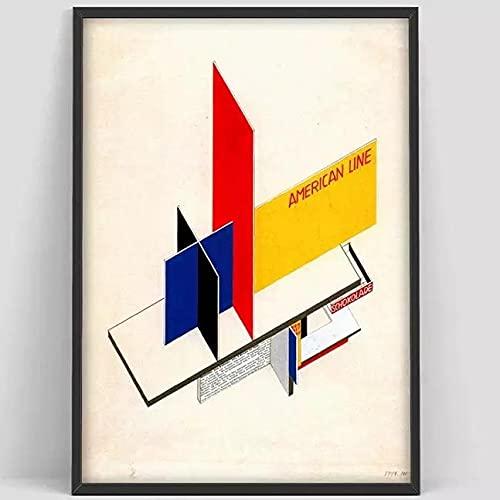 Póster de escalera de la Bauhaus, impresión de la exposición de la Bauhaus de Weimar 1923, impresión de póster de Herbert Bayer, lienzo decorativo sin marco A8 20x30cm