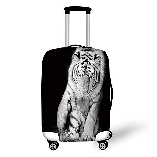 Reizen Bagage Cover Koffer Beschermer, Tijger, Zwart en Wit Afbeelding van Grote Kat Spelen met Water Koele Dieren Leuke Jager Decoratieve, Zwart Licht Grijs, voor Reizen