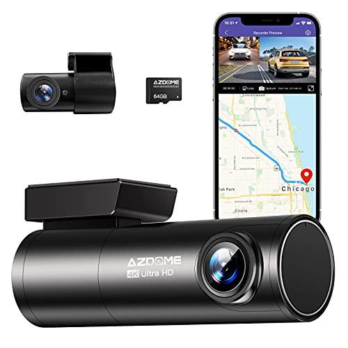 Azdome Dashcam mit Rückfahrkamera[4K, 170°Vorne+1080P, 150°Hinten] WiFi, GPS, Englische Sprachsteuerung, Super Nachtsicht, WDR, Loop-Aufnahme, G-Sensor, Parküberwachung, 64G Micro SD-Karte (M300S)