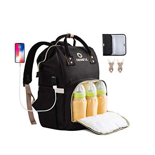 ORANIFUL Bolso Mochila Pañalera para Bebé Bolso de Pañales de Gran Capacidad con Multifuncional Mochila de Viaje Impermeable con Puerto USB Bolsillos Aislados para Cuidado de Bebé(Negro)