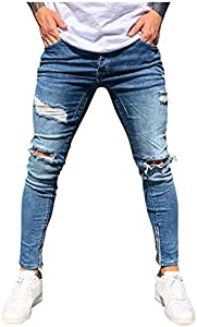 routinfly Hombre Jeans Rotos Vaqueros Skinny, Pantalones De Pies Casual Pantalon Largos Leggings Deportivos Transpirables Pantalones Largos De Ropa Interior Jeans