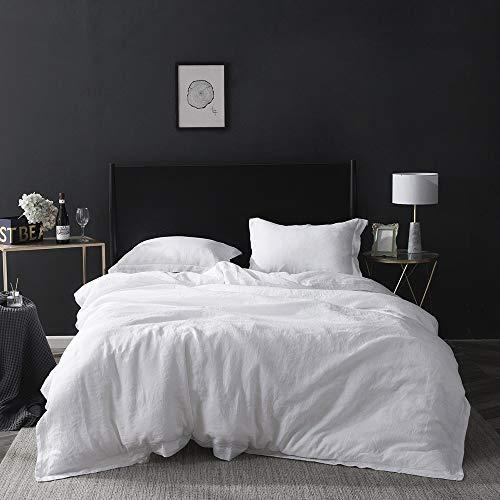 Simple&Opulence Bettbezug-Set 100% Naturleinen 260x220cm Bequem Stickerei Einfach Bettwäsche,2 Kissenbezügen 50x75cm,Weiß