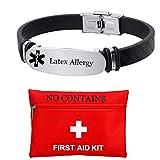 Pulsera de alerta médica con grabado personalizado gratuito de látex para personas mayores de emergencia médica, alarma alérgica, alarma de silicona para mujeres y hombres