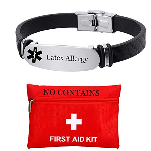 Free Custom Engraved Medical Alert Latex Allergy Awareness Bracelet for Emergency Medic Food Allergic Alarm Silicone Wristband for Women Men Customized ID Identification Jewelry for Adults Seniors