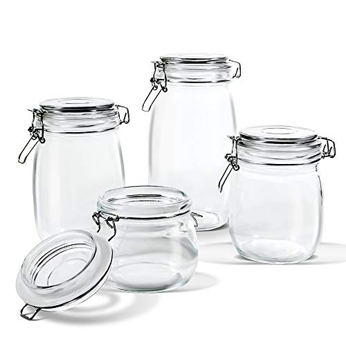 Glass Jar Set with Airtight Lids 4 PCS Kitchen Preserving Storage Jars for Cereal,Cookies,Sugar,& Coffee (16.9oz,25.7oz,33.8oz,50.7oz) Masthome