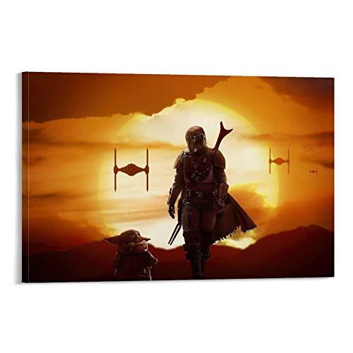 DRAGON VINES Star Wars - Lienzo impreso en lienzo (50 x 75 cm), diseño de El bebé mandaloriano Yoda