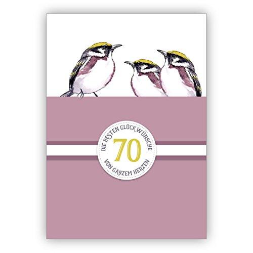 Elegante klassieke verjaardagskaart 70e verjaardag met mooie vogels in paars: 80 De beste felicitaties van het hele hart • rechtstreeks verzenden met uw tekst als inlegger • met envelop