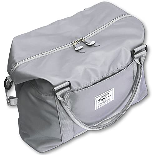 Womens travel bags, weekender carry on for women, sports Gym Bag, workout duffel bag, overnight shoulder Bag fit 15.6 inch Laptop (Large, Grey)