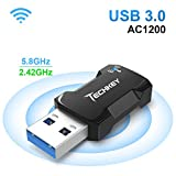 USB WiFi Adapter 1200Mbps for PC, Techkey Mini Wireless Network Adapter USB 3.0 WiFi Dongle 802.11 ac with Dual Band 2.42GHz/300Mbps, 5.8GHz/866Mbps for Desktop Laptop Windows XP/7/8/8.1/10/ Mac OS