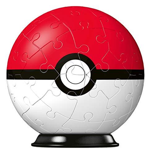 RAVENSBURGER PUZZLE 11256 Ravensburger 3D Puzzle 11256-Puzzle-Ball Pokéball Classic 11256-54 Teile-für Pokémon Fans ab 6 Jahren, White
