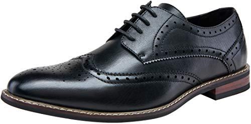 JOUSEN Men's Dress Shoes Wingtip Brogue Oxford Formal Shoes for Men Business Derby Shoes (AMY601 Black 10.5)