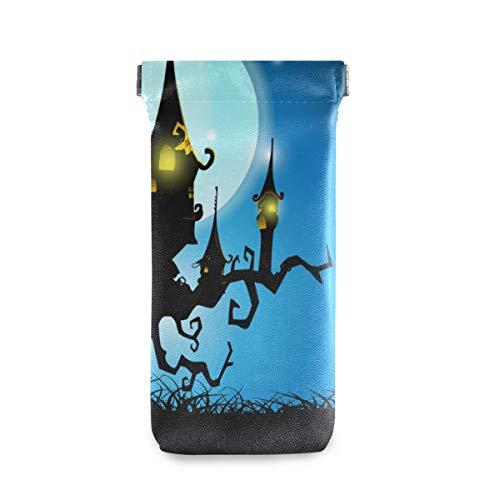 XiangHeFu Brillentas geschenk bril zakhouder draagbare zonnebril geval horrible Halloween gehaakt house volle maan nacht multiuse