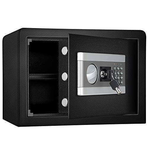 ETE ETMATE Caja fuerte de seguridad, caja de seguridad, archivador confidencial electrónico, con contraseña, todo de acero, en la pared, caja fuerte pequeña