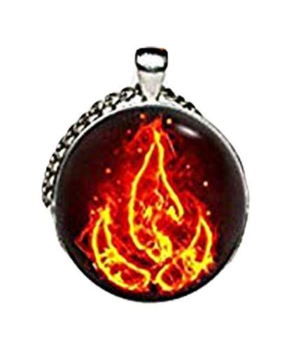 Collier avec pendentif en forme de symbole d'incendie, 4 éléments, cadeau artistique, pour elle, pour lui