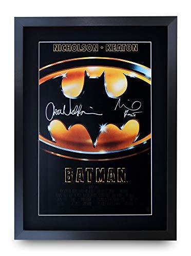 HWC Trading Batman A3 Gerahmte Signiert Gedruckt Autogramme Bild Druck-Fotoanzeige Geschenk Für Michael Keaton Jack Nicholson Filmfans