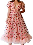 Mai Poetry Maxi Dresses for Women Casual, Women Sexy Strawberry Sweet Mesh Yarn V-Neck Pleated Long Skirt (Pink, Small)