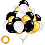 YiRAN Globos de oro y negro, 100 unidades de globos negros, globos metálicos dorados, globos blancos para decoración de fiesta de oro negro, decoración de fiesta de hip hop, decoración de fiesta de Hollywood, decoración de fiesta de discoteca