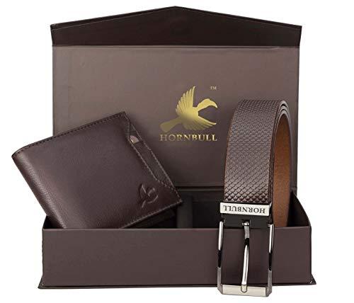 Hornbull Combo Gift Set for Men's - Brown Wallet and Brown Belt Men's Combo Gift Set 6985