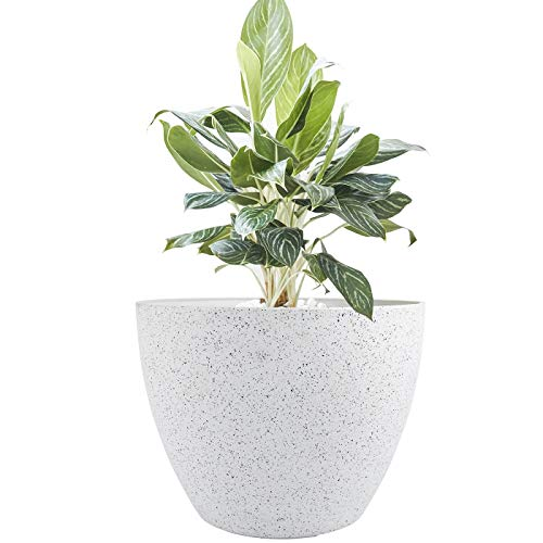 Large Planter Pot Indoor Outdoor – 14.2 Inch Tree Planter Flower Pot, Planters Container with Drain Holes (Speckled White)