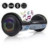 yhr hoverboard autobilanciante da 2 ruote da 6.5 per bambini e adulti, scooter elettrico intelligente con auto bilanciamento con borsa-caricabatterie-led, certificato ul