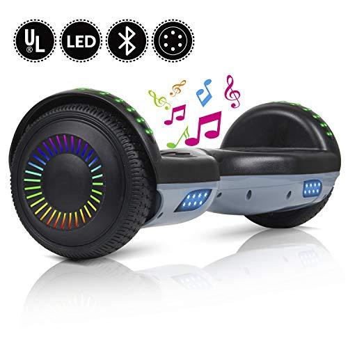 """YHR Hoverboard autobilanciante da 2 Ruote da 6.5 \""""per Bambini e Adulti, Scooter Elettrico Intelligente con Auto bilanciamento con Borsa-Caricabatterie-LED, Certificato UL"""