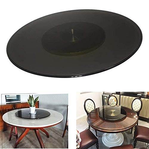 MASP Lazy Susan Turntable Lazy Susan turntable tempered glass plate, rotating aluminum alloy metal base, for home, kitchen, dining table (Size : 60cm/23.5in)