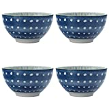 Maxwell & Williams Laguna Small Bowls for Snacks, Dips and Nuts with Hand-Painted 'Nibbles' Design, Porcelain, Blue / White, 10 cm, 4-Piece Bowl Set