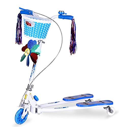 Yogafa Scooter para niños, 3 Ruedas Swing Swing Scooter Empuje a la Deriva con iluminación Ajustable y LED Scooter para niños y niñas Edades 3-8,Azul