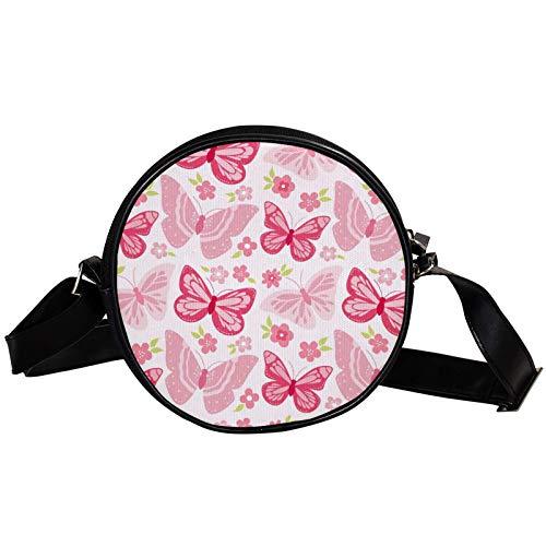 Bolso cruzado redondo pequeño bolso de las señoras bolsos de hombro de la moda bolso de mensajero bolsa de lona bolsa de cintura accesorios para las mujeres - mariposas rosa