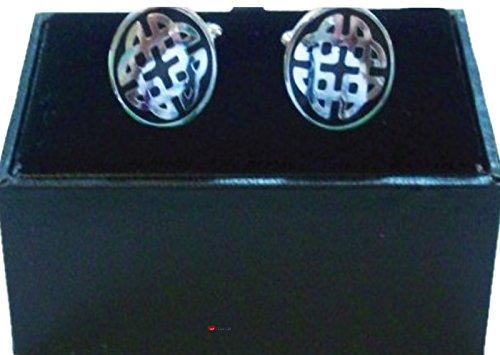 I Luv LTD Celtic Knot Chrome et boutons de manchette noir