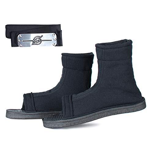 Anime Unisex Black Shippuden Open-Toe Shoes Sandal Boots for Ninja Cosplay(Black-42)