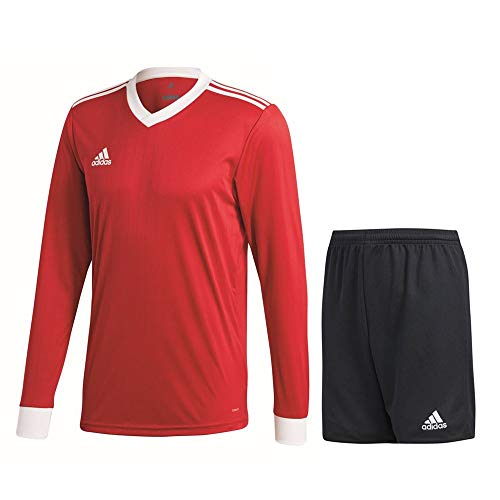 adidas Fußball Tabela 18 Trikotset Langarm Trikot Shorts Trainingsset Herren rot schwarz Gr L