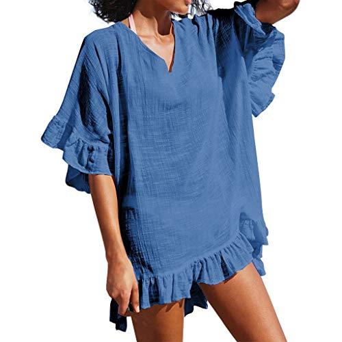 MOMOXI Vestido para Mujer Traje de baño de Moda para Mujer Traje de baño de Playa Vestido de baño Sexy Smock Vestido de Verano Mujer Casual Verano Vintage Bohemio Verano sin Mangas Flores Impresa