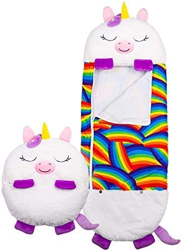 Happy Nap Sleeping Bag, Pillow & Sack- Comfy, Cozy, Compact, Super Soft, Warm, All Season, Kids Sleeping Bag with Pillow - White