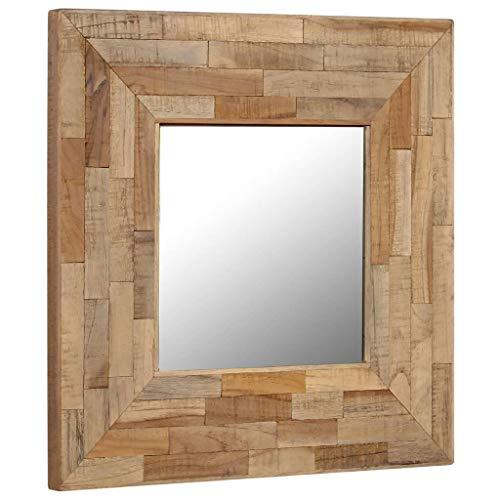 vidaXL Gerecycled Teakhouten Spiegel 50x50 cm Wandspiegel Hangspiegel Spiegels