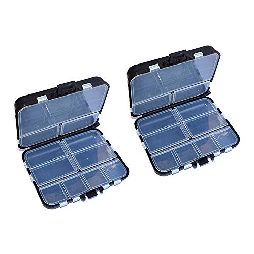 HPiano Fishing Tackle Box, 2pcs Plastic Fishing Tackle Professional Fishing Tackle Storage Box, Multifunction Toolbox Parts Box Waterproof Individually Adjustable Inner compartments