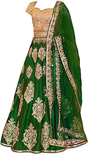 Girl s Raw Silk Semi Stitched Lehenga Choli
