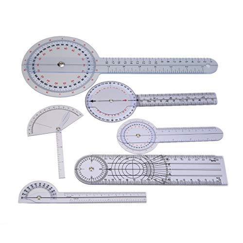 TOOGOO 6 StüCke Medical Spinal Lineal Spinal Finger Goniometer Winkelmesser Multi-Lineal Winkel 180/360 Grad Messwerkzeug