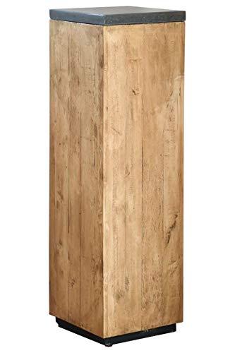 VIVANNO Podest Säule Dekosäule Blumensäule Blumenständer aus Recycling Holz 100 cm hoch, Braun
