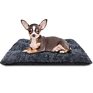 FURTIME Dog Bed Crate Pad Ultra Soft Washable Kennel Bed 24/30/36/42 Inch Anti-Slip Crate Sleeping Mat for Large Medium Small Dogs and Cats (23″ x 18″)