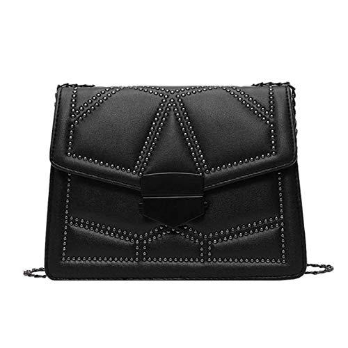 Bolso de mano para mujer, estilo vintage, para mujer, de cuero, con cadena de remaches, bandolera, bandolera, color negro